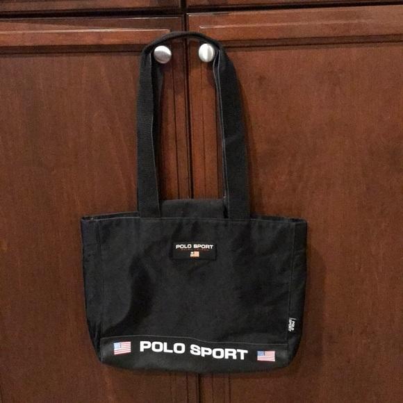 eaabe71fd3 Vtg Polo Sport Large tote handbag black bag. M 5b7cf0401b16dbd759d2b99b